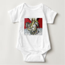 Group of Yellow-Green, Brown & White Sea Horses Baby Bodysuit