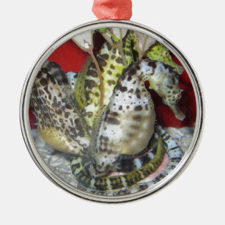 Group of Yellow-Green, Brown & White Sea Horses Christmas Tree Ornaments