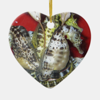 Group of Yellow-Green, Brown & White Sea Horses Christmas Ornaments