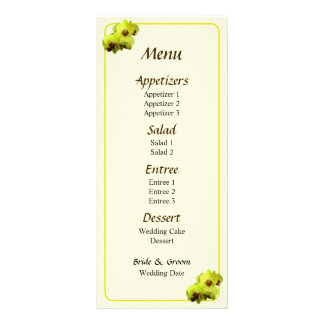 Group of Yellow Orchids Wedding Menu