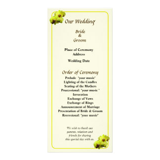 Group of Yellow Orchids Wedding Program