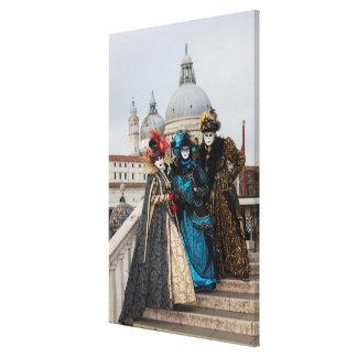 Group On Bridge At Carnival, Venice Canvas Print