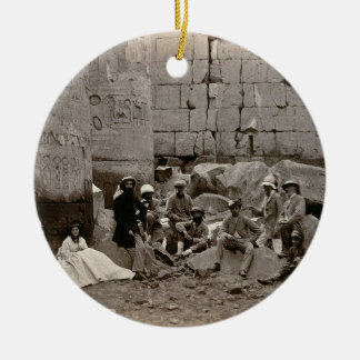 Group photograph in the Hall of Columns, Karnak, T Ceramic Ornament