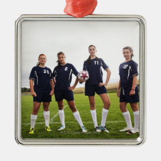 group portait of teen girl soccer players metal ornament