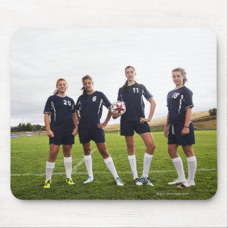 group portait of teen girl soccer players mouse pad