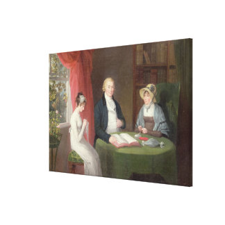 Group Portrait at a Drawing Room Table (oil on can Canvas Print