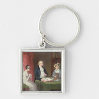Group Portrait at a Drawing Room Table (oil on can Key Chain