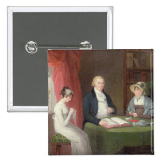 Group Portrait at a Drawing Room Table (oil on can Pinback Button