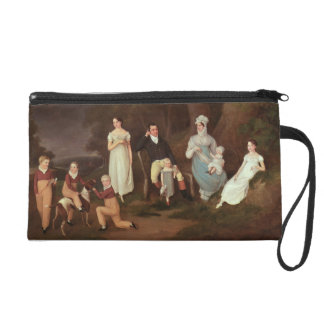 Group portrait of a Squire, his Wife and Children Wristlet Clutches