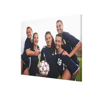 group portrait of teen girl soccer players canvas print
