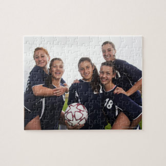 group portrait of teen girl soccer players jigsaw puzzle