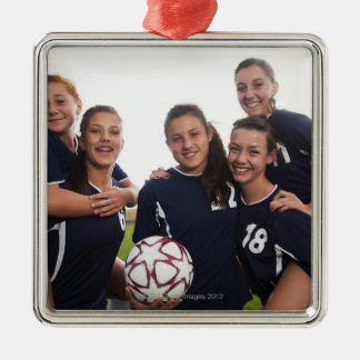 group portrait of teen girl soccer players metal ornament