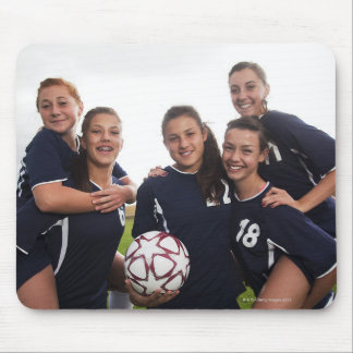 group portrait of teen girl soccer players mouse pad