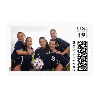 group portrait of teen girl soccer players postage