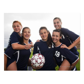 group portrait of teen girl soccer players postcard