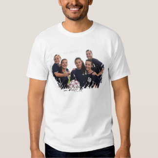 group portrait of teen girl soccer players tee shirts