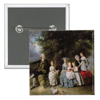 Group Portrait of the Colmore Family 2 Inch Square Button