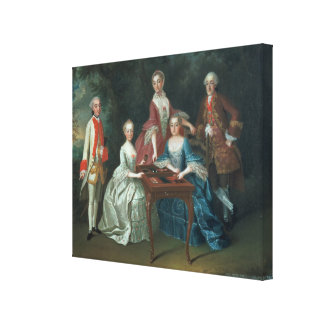 Group portrait of the Harrach family playing Canvas Print