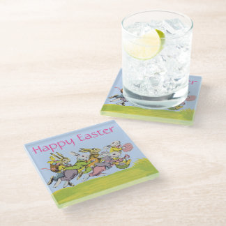 Group Running Easter Bunnies in Grass Eggs Glass Coaster