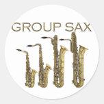 Group Sax Round Stickers