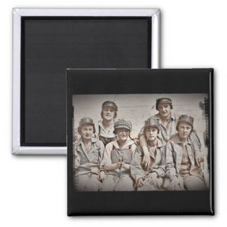 Group Shipyard Workers on Wharf 2 Inch Square Magnet