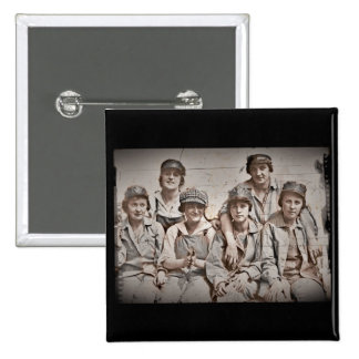 Group Shipyard Workers on Wharf Pinback Button