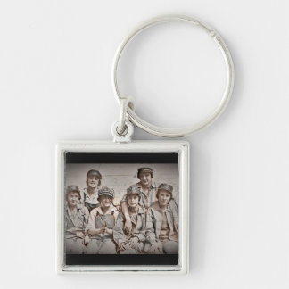 Group Shipyard Workers on Wharf Silver-Colored Square Keychain