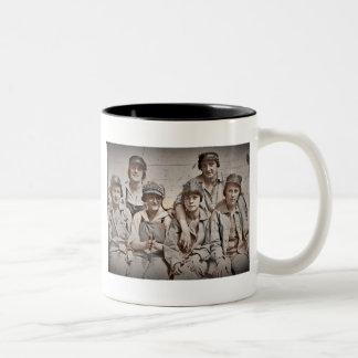 Group Shipyard Workers on Wharf Two-Tone Coffee Mug