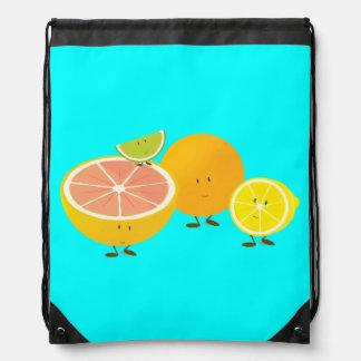 Group shot of citrus characters cinch bag
