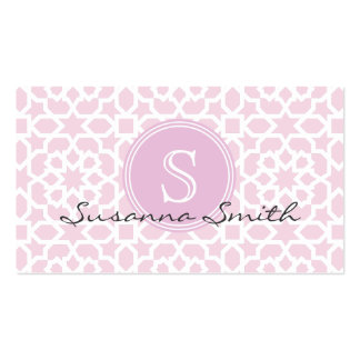 Group with pink Moroccan mosaic and monograma Business Card Template