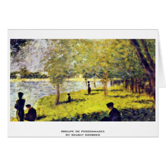 Groupe De Personnages By Seurat Georges Greeting Cards