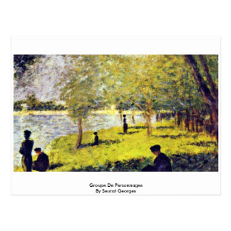 Groupe De Personnages By Seurat Georges Post Cards