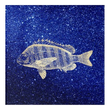 Beach Themed Grouper Fish Sea Ocean Navy Foxier Gold Metallic Acrylic Wall Art