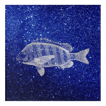 Beach Themed Grouper Fish Sea Ocean Navy Silver Gray Metallic Acrylic Wall Art