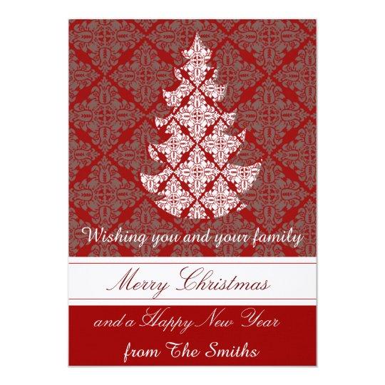 Groupon Classic Damask Christmas Tree Card | Zazzle.com