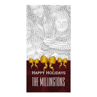 GROUPON Gold Bows and Maroon Merry Christmas V10 Card