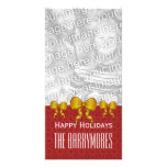 GROUPON Gold Bows Merry Christmas V9 Customized Photo Card