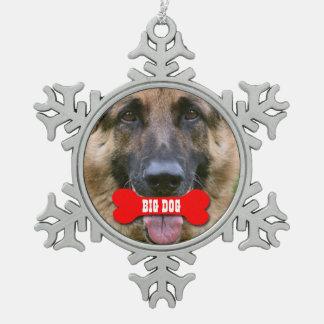 GROUPON Photo Pet with Custom Bone Name V02A Snowflake Pewter Christmas Ornament