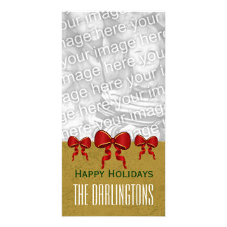 GROUPON Red Bows and Gold Merry Christmas V11 Card