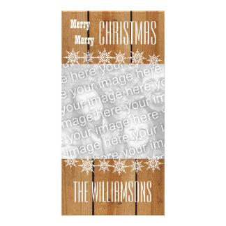 GROUPON Wood Texture Snowflakes Merry Christmas V1 Card