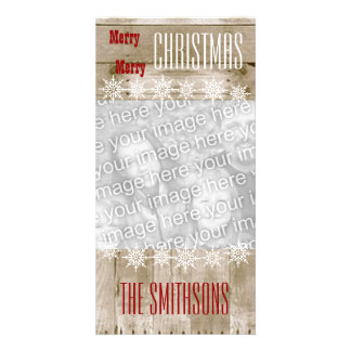 GROUPON Wood Texture Snowflakes Merry Christmas V3 Card