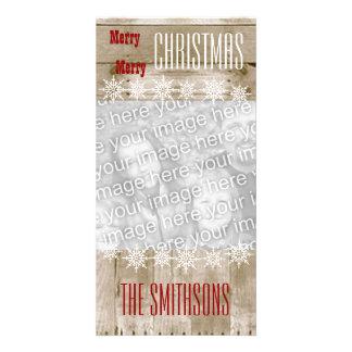 GROUPON Wood Texture Snowflakes Merry Christmas V3 Card
