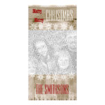 GROUPON Wood Texture Snowflakes Merry Christmas V3 Photo Card Template