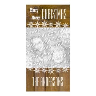 GROUPON Wood Texture Snowflakes Merry Christmas V4 Card