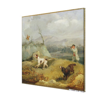 Grouse Shooting (oil on canvas) Canvas Print