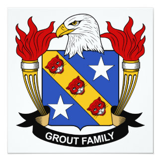 Grout Family Crest 5.25x5.25 Square Paper Invitation Card