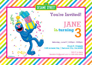 60 off sesame street birthday invitations shop now to save zazzle grover striped birthday invitation filmwisefo