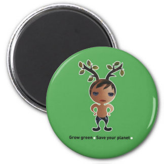 Grow a green conscience! 2 inch round magnet
