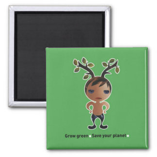 Grow a green conscience! 2 inch square magnet