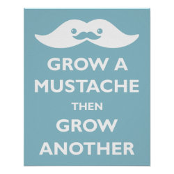 Matte Poster with Cute Kawaii Mustache design